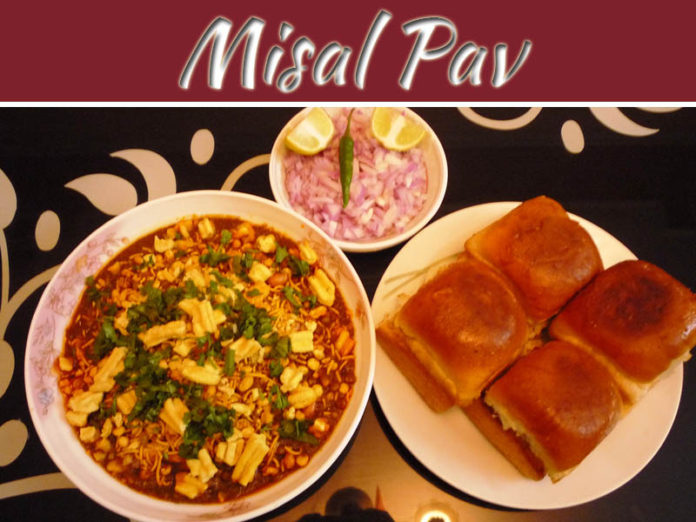 Mouthwatering Street Food Type Misal Pav At Home